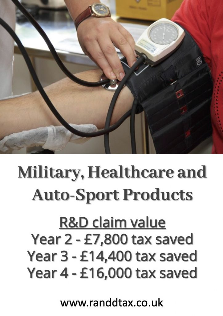 case study healthcare military R&D tax credit claim