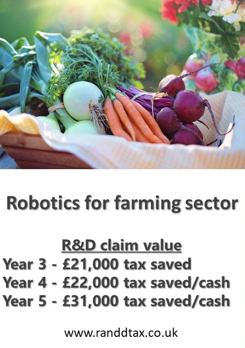 case study Robotics farming sector R&D tax credit claim