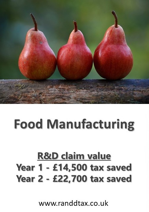 case study Food production R&D tax credit claim