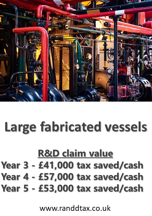case study Large Fabricated Vessels R&D tax credit claim