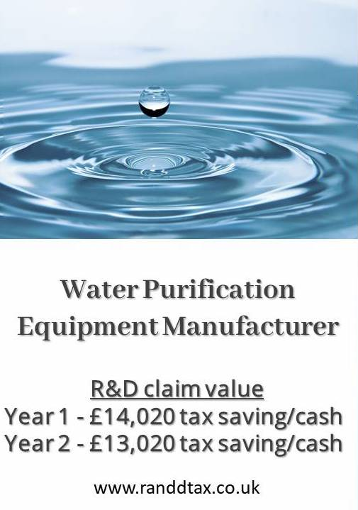case study R&D tax credit claim Water Purification Equipment