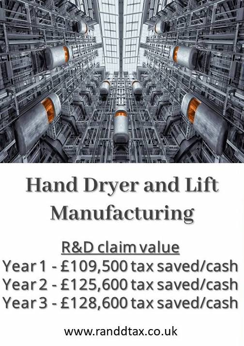 case study R&D tax credit claim Hand Dryer and Lift Manufacturing