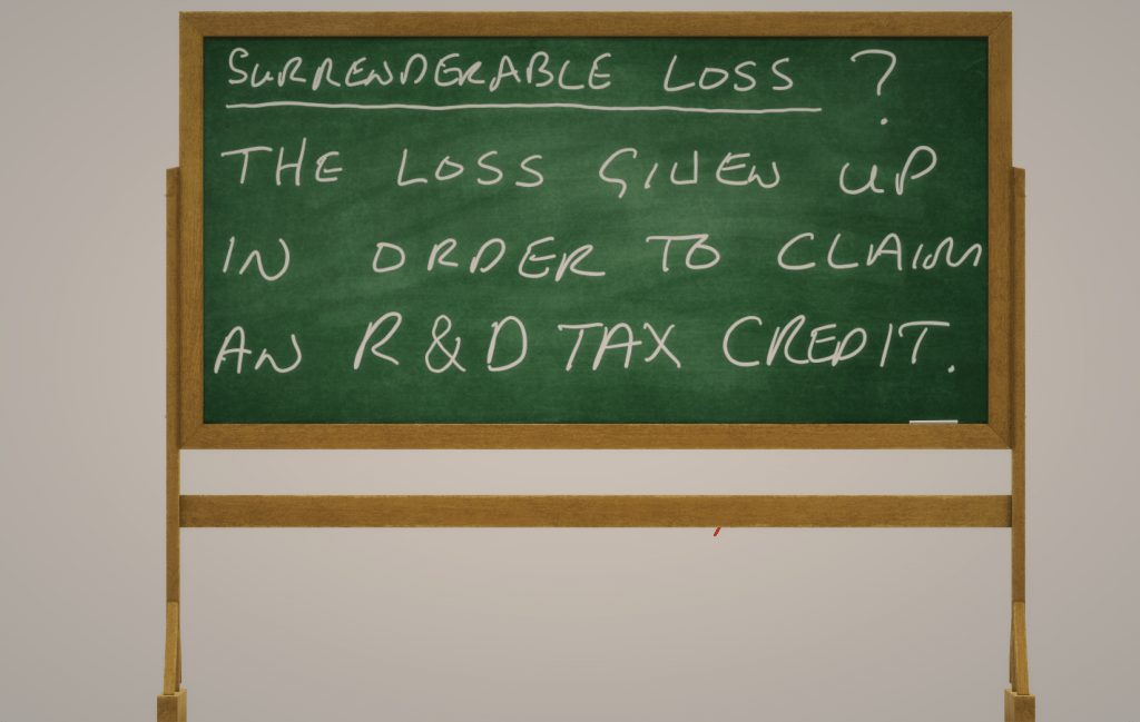 Surrenderable Loss - The loss given up in order to claim an R&D tax credit