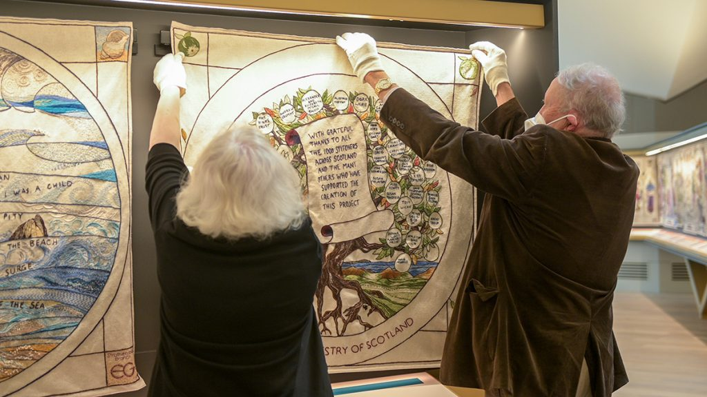 Hanging panel at The Great Tapestry of Scotland
